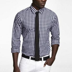Express Men's Gingham Button Down Dress Shirt